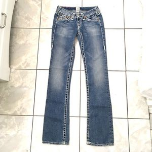 True Religion Woman's Blue Straight Leg Jeans